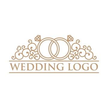 Love And Ring Line Art Wedding Logo
