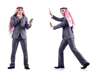Set of photos with arab businessman