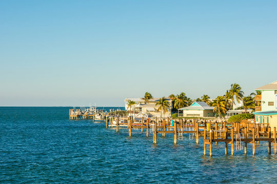 Florida Keys fishing boats in turquoise tropical blue water