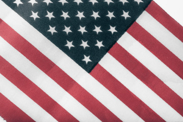 Texture of american flag on a cloth for background. Toned