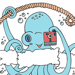 Cute smiling cartoon octopus with a camera.