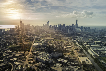 Sunrise above city of Chicago skyline, aerial view
