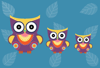 et of cartoon owls on blue background ,Vector illustrations