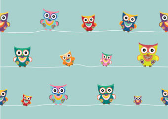 Seamless pattern of cartoon owls on green background  ,Vector illustrations