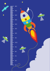 Space,Meter wall or height meter from 50 to 180 centimeter,Vector illustrations