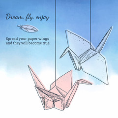 Card template with origami cranes
