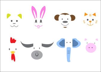 Animal Heads Vector illustration