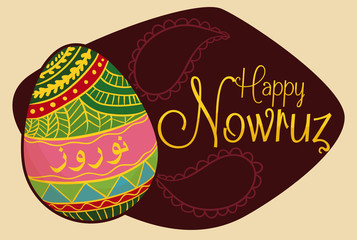 Pretty Painted Egg for Nowruz Celebration, Vector Illustration