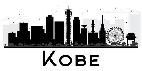Kobe City skyline black and white silhouette.