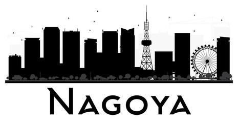 Nagoya City skyline black and white silhouette.