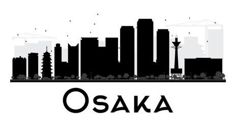 Osaka City skyline black and white silhouette.