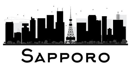 Sapporo City skyline black and white silhouette.