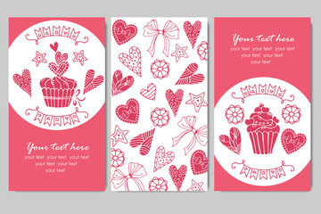 business cards with cupcakes