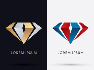 Abstract Jewelry, diamond, gemstone, designed using gold and silver , red and blue colors graphic vector