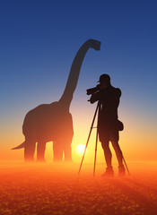 Photographer and dinosaur