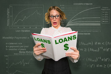 Student shocked trying to learn difficult loan investment capital home ownership application process