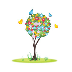 Floral spring tree beautiful,  vector illustration