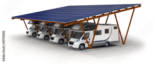 solar carport with camper stockfotos und lizenzfreie bilder auf bild 107115802. Black Bedroom Furniture Sets. Home Design Ideas