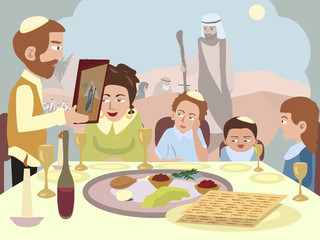 Reading the Haggadah at the Seder table