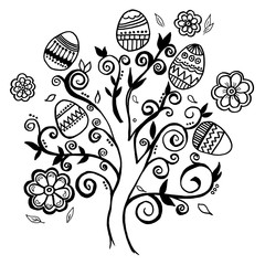Hand-drawn  Tree Easter eggs
