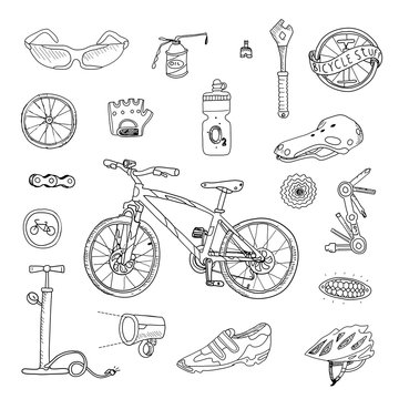 Bicycle stuff. Doodle set in vector isolated on a white background.