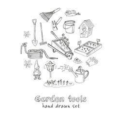 Garden tools doodle set. Various equipment and facilities for gardening and agriculture.