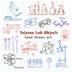 Collection of  Vector hand drawn doodle science lab objects.