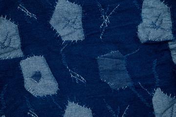 Jeans background , denim patchwork .