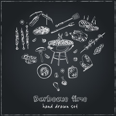 Vector hand drawn set with barbecue tools on black chalkboard.