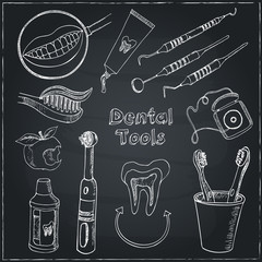 Doodle style dentist equipment sketch. Set includes  picks, mirrors, caduceus, toothbrush, smile, and teeth.