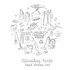 Laundry themed doodle set. Various equipment and facilities for washing, drying and ironing clothes.