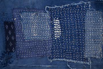 Jeans patchwork  background , denim patchwork .