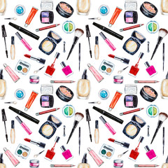 Seamless watercolor pattern with cosmetic, beauty items