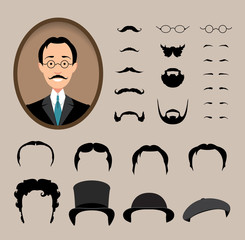 Big set Haircuts, glasses, beard, mustache.