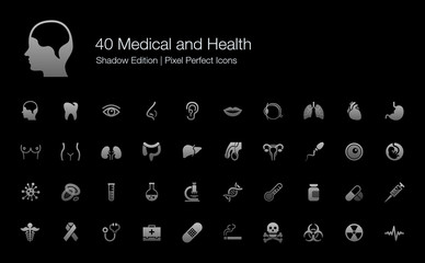Medical and Health Human Organs and Body Parts Pixel Perfect Icons Shadow Edition