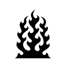 Black fire flame isolated on white