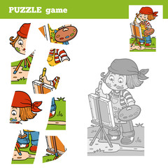 Puzzle Game for children with the girl artist