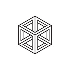 Impossible cube, line design, vector illustration
