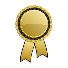 Gold and black award rosette with ribbon