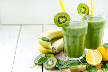 Fresh and healthy green smoothie  with spinach,banana, kiwi
