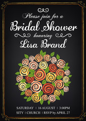 Invitation template with beautiful wedding bouquet. Bridal shower. Vintage style. Chalkboard