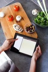 recette de cuisine sur une tablette