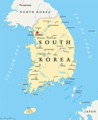 South Korea political map with capital Seoul, national borders, important cities, rivers and lakes. English labeling and scaling. Illustration.