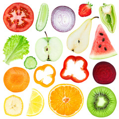 Slices of fruit and vegetable
