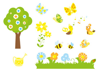 set of cute cartoon nature objects : flowers, singing birds, flying, butterflies, bees, blooming tree / joyful collection of spring vectors for children
