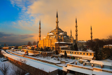 Istanbul in winter time, bridges,mosques,streets an trees..