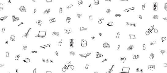 Seamless pattern. Doodles elements for  teenage boy. Monochrome hand drown icon set.