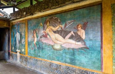 Venus in the shell, an ancient roman fresco