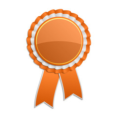 Orange award rosette with ribbon