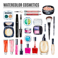 Set of various watercolor decorative cosmetic. Makeup products